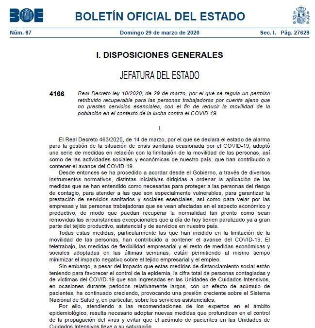 """NOTA INFORMATIVA SOBRE EL REAL DECRETO-LEY 10/2020, DE 29 DE MARZO, POR EL QUE SE REGULA UN """"PERMISO RETRIBUIDO RECUPERABLE"""""""